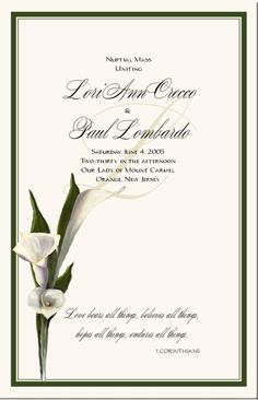 Calla Lily Wedding Theme Fl Stationery Designs