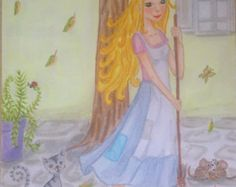 Fairy tale art Cinderella. Original art illustration gifts for girls room art LumisaDesign disney art disney princess home decoration by lumisadesign. Explore more products on http://lumisadesign.etsy.com
