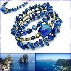 Blue Wrap bracelet with Lampwork  Lapis lazuli by MarianneMerceria