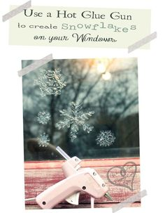 Make window snowflakes with a glue gun. how to found here http://www.u-createcrafts.com/2012/12/use-glue-gun-to-create-window-snowflakes.html |   Christmas Hacks