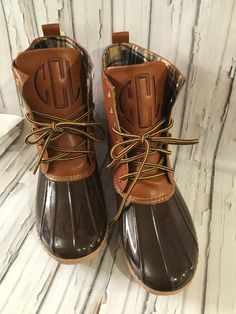 Monogrammed Duck Boots. I never thought of getting my bean boots monogrammed.
