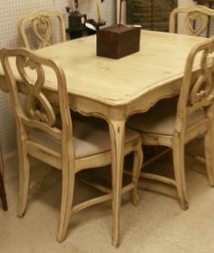 Vintage table & chairs in Annie Sloan Old White paint with clear and dark wax.