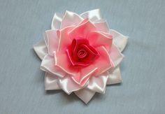 DIY kanzashi flower, how to make ribbon rose,kanzashi rose,kanzashi flores de cinta