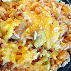 Instant rice really hastens the cooking in this one-skillet supper of rice, chicken and salsa topped with melted Cheddar.