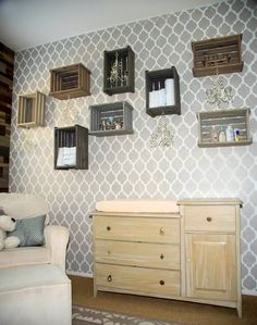 New take on a gallery wall - wooden crates instead of frames!