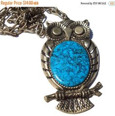 ❘❘❙❙❚❚ ON SALE ❚❚❙❙❘❘     Big vintage antiqued silver colored owl pendant with a blue imitation turquoise stone mottled with black veins. From the 1970s. No designer signature.  The chain has a spring clasp.  Long chain is 24 inches. The owl is about 3 and 1/4 inches tall and about 1 and 3/4 inches at the widest point. Very good condition!    To return to my shop: https://www.etsy.com/shop/snapconclusions?ref=listing-shop2-all-items-count#items  ----------  About Shipping:  Items will be…