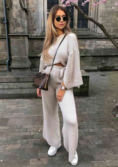 Cropped Batwing Slit Sleeve Ribbed Knit Lounge Co Ord Set Beige Winter Mode Outfits, Winter Fashion Outfits, Women's Summer Fashion, Look Fashion, Autumn Winter Fashion, Trendy Outfits, Fall Outfits, Womens Fashion, Co Ords Outfits