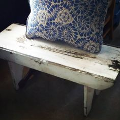 Farmhouse bench. $46 Vintage fabric pillow $15. #affordable #farmhouse #restylechicago https://www.instagram.com/p/BVf53Vcg-s-/#utm_sguid=126328,f633d9d8-a6d0-9213-89cd-d3e5d90d26d0