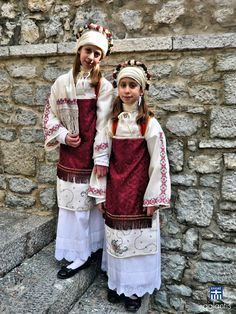 This photo from Hios, North Aegean is titled 'twins'. Mykonos, Dance Costumes, Greek Costumes, Chios Greece, Greek Traditional Dress, Greek Culture, North Korea, Greece Travel, Greek Islands