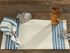 Portsmouth Placemat by Park Designs. The Portsmouth Collection was inspired by old French linen towels and combines a vintage ticking stripe pattern in several scales for an eclectic feel. The 100% cotton duck base cloth provides the texture of worn linen without the cost. For a Park Designs retailer near you visit our website at www.parkdesigns.net #wholesale #home #decor #coastal #dishtowels #portsmouth #placemats #parkdesigns #park #designs #french #linen