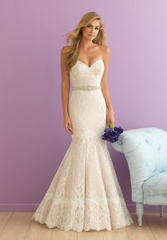 Strapless Sheath Lace Wedding Dress | Style 2916 by Allure Bridals |  http://trib.al/W4WOC1g