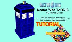 3D Hama Beads Doctor Who TARDIS tutorial pattern Pyssla perler beads