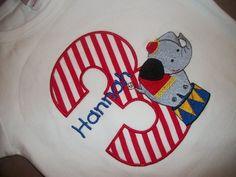 Custom boutique birthday t shirt circus carnival clown elephant lion striped 1st 2nd first girls boys tee onesie.