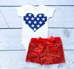 Star Heart sparkle onesie, 4th of July Outfit, Baby Girl' outfit, Baby Girl 4th of July Outfit, July 4th, Independance Day, sparkle top by MyLittleMissCo on Etsy https://www.etsy.com/listing/291871563/star-heart-sparkle-onesie-4th-of-july