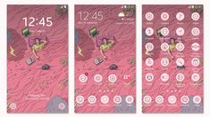 Cute Themes, Ui, 24 September, Voice Recorder, Homescreen, Samsung, Messages, Illustration, Design