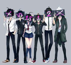 Yasuke Matsuda, Shuichi Saihara,  Komaru Naegi, Makoto Naegi, Hajime Hinata, Nagito Komaeda // DanganRonpa