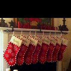 Great idea for hanging all of our stockings over fireplace