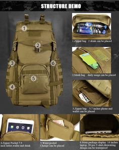 fef4ee5ba4d6 Military Tactical 60L MOLLE Backpack High Capacity Nylon Camouflage Rucksack  For Hiking Hunting Trekking Travel - 5 Colors