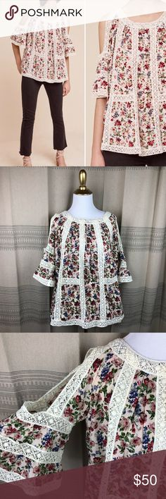 Anthropologie Blue Tassel Maylou Floral Cutout Top Adorable floral print embroidered cold shoulder cutout blouse from blue tassel for Anthropologie. Size XS. Great pre worn condition! No trades or try ons please Anthropologie Tops
