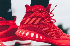 The Adidas Crazy Explosive Primeknit is set t release tomorrow August the The shoe is dressed in an all red color and will be available for purchase Sport Wear, Luxury Lifestyle, Basketball Shoes, Men's Shoes, Trainers, Personal Style, Adidas Sneakers, Street Wear, Swag