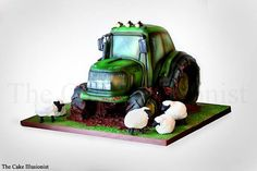 www.thecakeillusionist.co.uk Tractor cake, edible art, cake sculpting, car cake, vehicle cake, airbrush, sheep, John Deere, Muddy tractor, birthday cake