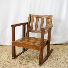 Vintage Child's Rocking Chair Mission Style Rocking Chair Child's Wood Rocking…