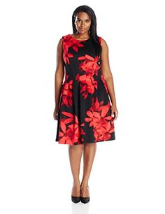 Calvin Klein Women's Plus-Size Printed Fit and Flare Dress, Red/Multi, 18W Calvin Klein http://www.amazon.com/dp/B014W1RQVS/ref=cm_sw_r_pi_dp_SIYVwb121PD6B