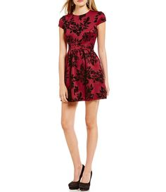 B. Darlin Cap Sleeve Rose Floral Pattern Flocked Skater Dress