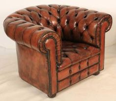 Hand Dyed Chesterfield Armchair from LT Antiques Chesterfield Armchair, Leather Chesterfield, Antique Chairs For Sale, Vintage Chairs, 1920s House, Accent Chairs, Cottage, Luxury, Antiques
