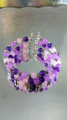 Shades of Purple Three Strand Memory Wire Bangle by FriendzJewels