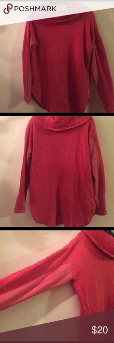 Red Tommy Hilfiger athluxe cowl neck sweatshirt Heathered red cozy cowl neck sweatshirt by Tommy Hilfiger. Women's medium. So warm and comfortable and really cute! Pre-loved, but no tears or stains. Any questions, please ask! Tommy Hilfiger Tops Sweatshirts & Hoodies