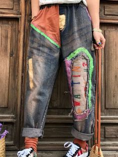 666f13e7b7 Vintage Letter Patchwork Elastic Waist Women Ripped Jeans is a trendy