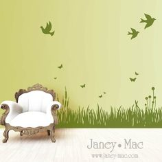 Grass Wall Decal with Birds and Butterflies  por JaneyMacWalls