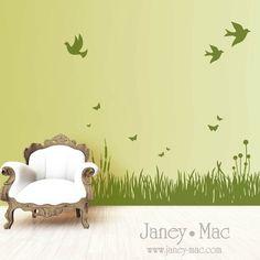 Grass Wall Decal with Birds and Butterflies - Living Room - Bedroom Children Nursery - Vinyl Wall Art Sticker - HT106