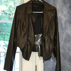 Elie Tahari Emalia jacket, brand NEW, with TAGS! this was a gift, adore it but unfortunately too small for me. never been worn & still has the tags on it. real lambskin leather. retailed for $998 at Saks. gold color Elie Tahari Jackets & Coats