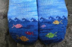 Fish in the Sea is a whimsical sock design sized for both children and adults. Fish in the Sea is a whimsical sock design sized for both children and adults. The detailed pattern includes instruction. Fair Isle Knitting, Knitting Socks, Hand Knitting, Knitting Patterns, Knit Socks, Knitted Booties, Knitted Slippers, Baby Booties, Knitting Projects