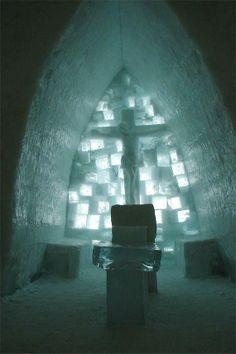 Chapel alter at the Lake Balea Ice Hotel, Carpathian Mountains, Romania