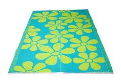 Tapete de plástico Rice cores vermelho com pink e acabamento de maçãs ou na versão de flores turquesa e verde