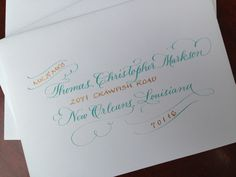 Wedding calligraphy, mint green, gold ink