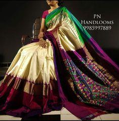 Silk Saree Kanchipuram, Pochampally Sarees, Ikkat Silk Sarees, Chiffon Saree, Handloom Saree, Cotton Saree, Saree Dress, Saree Design Patterns, Saree Blouse Patterns