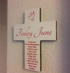 Granddaughter Cross Personalize on Pine Wood  w/ Dove Baptism