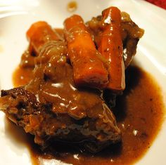 OK, here is my version of savory, braised shorts ribs. Not in your typical tomato based, red wine sauce, but in a white wine and herbed sauce that starts with a mirepoix and other vegetables. A mirepoix is a combination of chopped carrots, celery and onions used to add flavor and aroma to stocks, sauces, soups and other foods. Recently, I just got a new Dutch oven by Le Creuset and wanted to break it in with a traditional French recipe a la Kevin!