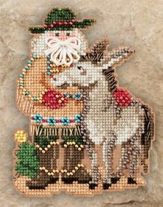 Desert Santa Cross Stitch Kit: x x /Kit contains chart and instructions, Mill Hill glass beads, perforated paper, needle and stranded cotton threads. Santa Cross Stitch, Beaded Cross Stitch, Counted Cross Stitch Kits, Cross Stitch Embroidery, Cross Stitch Patterns, Mill Hill Beads, Hand Embroidery Kits, Cross Stitch Needles, Theme Noel