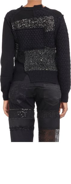 Junya Watanabe Sequined-Panels Patchwork Sweater at Barneys.com