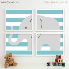 Childrens Art for Kids Wall Art, Jungle Baby Nursery Decor, Safari Animal Nursery Art, Elephant Nursery Wall Art Playroom - Four 11x14