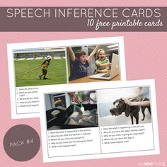 10 free printable speech therapy inference cards for kids with autism and/or hyperlexia from And Next Comes L Speech Therapy Activities, Language Activities, Articulation Activities, Listening Activities, Educational Activities, Speech Language Pathology, Speech And Language, Play Therapy Techniques, Receptive Language