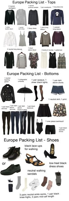 Europe Packing List - looks like my Kilbourne Park Kindergarten wardrobe Travel Capsule, Travel Wear, Travel Style, Travel Outfits, Capsule Wardrobe, Travel Wardrobe, Packing For Europe, Packing Tips For Travel, Packing Ideas