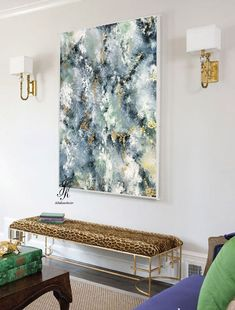 Large Abstract Painting Gold Leaf Large Wall Art Gold Painting