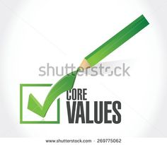 core values check mark sign illustration design over white - stock vector