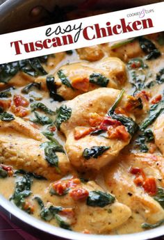 This Easy Tuscan Chicken Recipe is a one-pan skillet recipe made in under 30 minutes and loaded with flavor. It's a naturally low carb chicken recipe or serve it with pasta! Easy Teriyaki Chicken, Honey Garlic Chicken, Low Carb Chicken Recipes, Cooking Recipes, Recipe Chicken, Turkey Recipes, Meat Recipes, Yummy Recipes, Recipies
